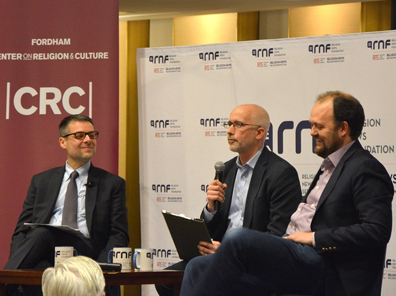 David Gibson, center, moderates the Francis@Five public debate with Massimo Faggioli, left, and Ross Douthat, right, at Fordham University's Lincoln Center campus in New York on Jan. 31, 2018.  Francis@Five was presented by the Religion News Foundation and the Center on Religion and Culture at Fordham with Salt + Light media partner.  RNS photo by Jack Jenkins