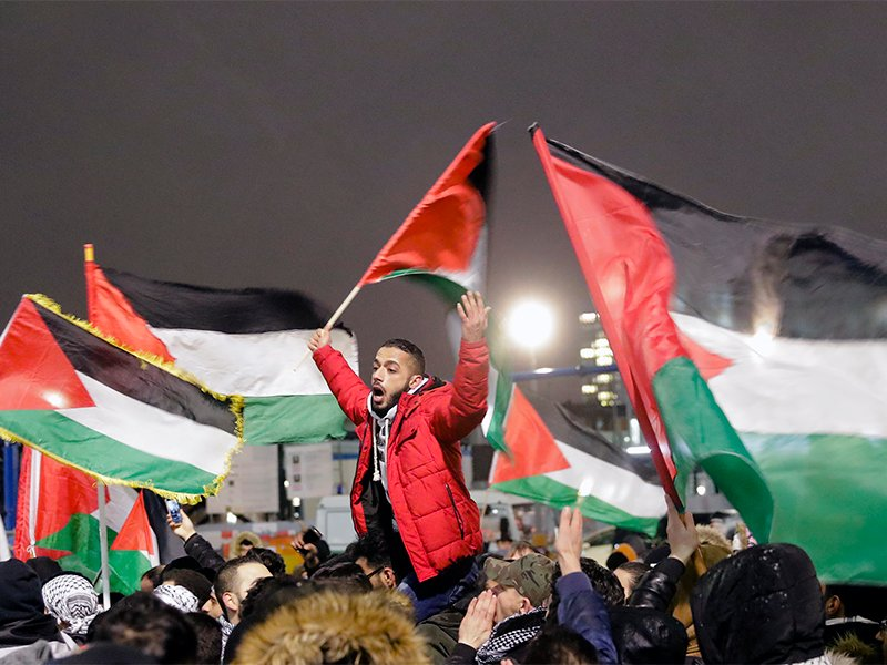 People of Berlin's Palestinian and Arabic communities protest against President Trump's recognition of Jerusalem as Israel's capital in Berlin on Dec. 12, 2017. (AP Photo/Markus Schreiber) (Caption amended by RNS)