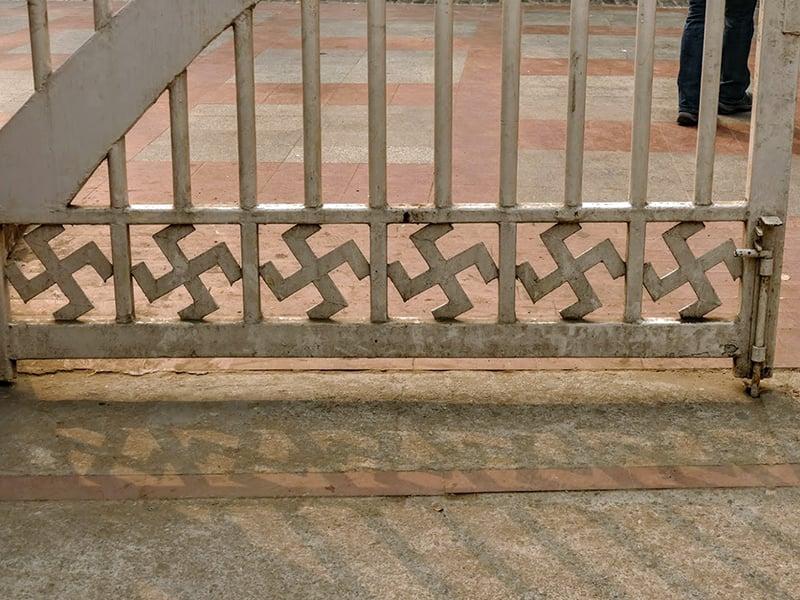 Swastikas on a gate at the Raj Ghat memorial dedicated to Mahatma Gandhi in Delhi, India. Photo courtesy of Rabbi Joshua Hammerman