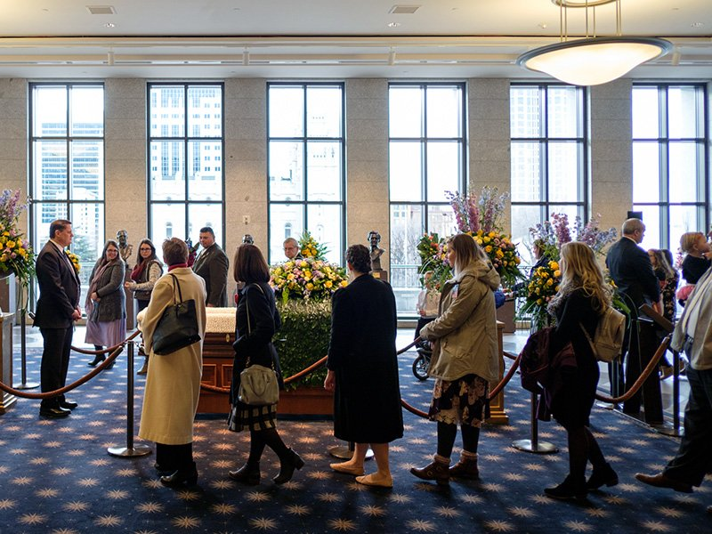 Visitors pay respects to former Mormon leader Thomas S. Monson during an open casket viewing at the LDS Conference Center in Salt Lake City, UT, on Jan. 11, 2018.  Photo courtesy of Intellectual Reserve, Inc.