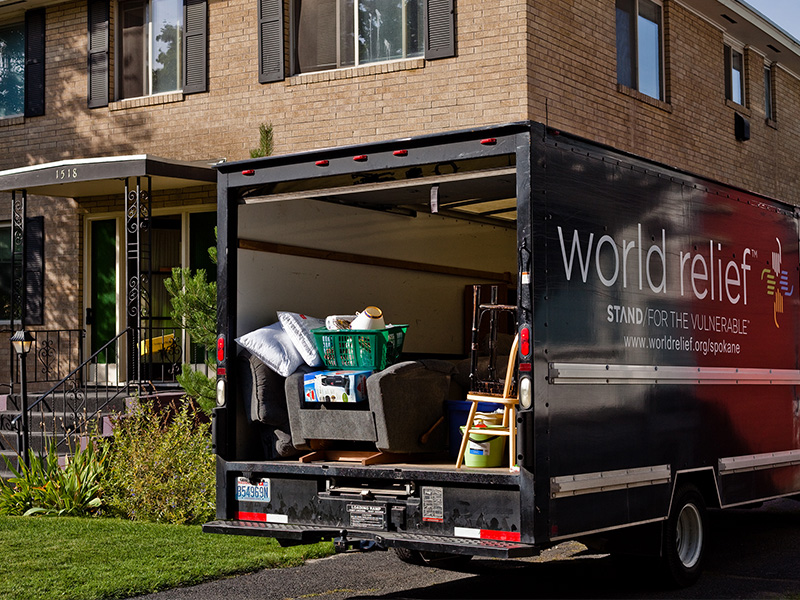 A World Relief moving truck with furnishings for a refugee resettlement home in Spokane. Photo by Viktoriya Aleksandrov/World Relief Spokane
