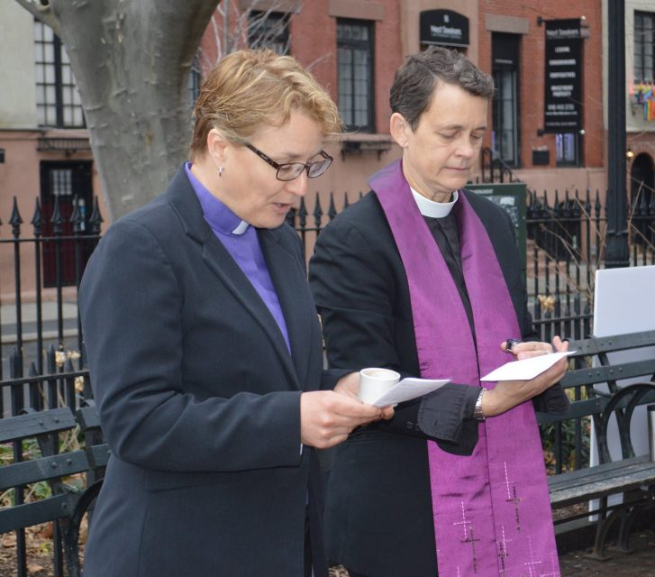Photo: The Rev. Marian Edmonds-Allen, executive director of Parity, with the Rev. Elizabeth Edman at the Stonewall National Monument, New York City, Ash Wednesday 2017. Photo by Cathy Renna.