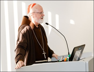 Cardinal Seán O'Malley welcoming participants in conference on climate change at the Boston Archdiocese's Pastoral Center, February 8, 2018