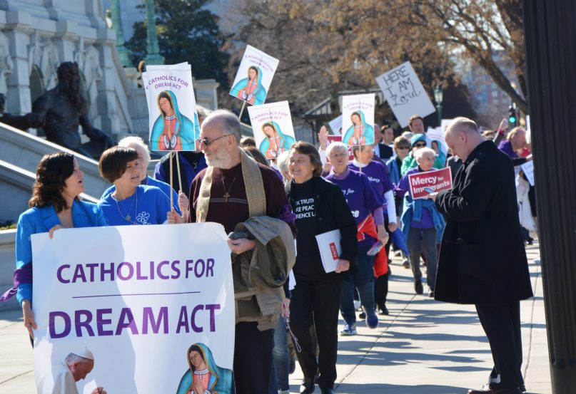 Several hundred Catholic demonstrators march on Capitol Hill to demand congressional action on DACA on Feb. 27, 2018.  RNS photo by Jack Jenkins
