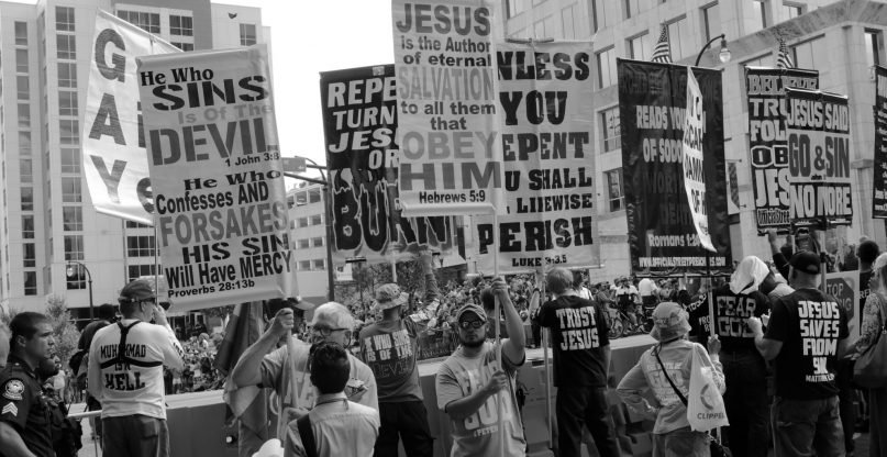 Religious right protests Atlanta's Pride Parade, 2017 (Image courtesy of Tom Driggers - Via Flickr creative commons - http://bit.ly/2GIrVPM)