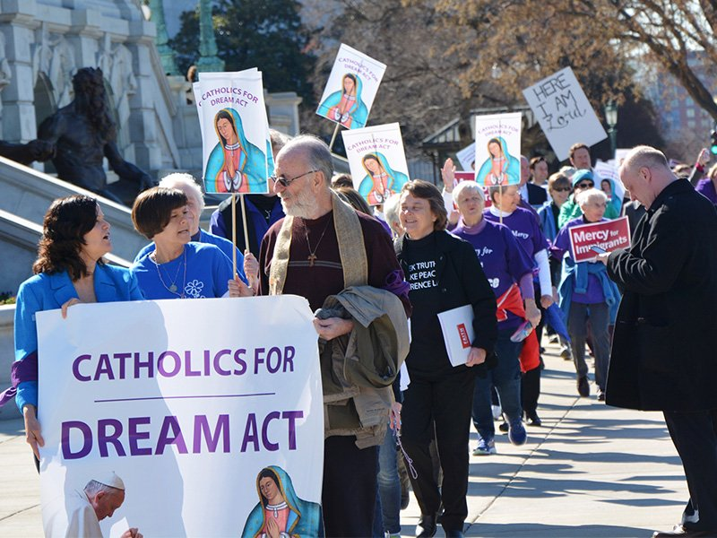 Several hundred Catholic demonstrators march on Capitol Hill on Feb. 27, 2018, to demand congressional action on the Deferred Action for Childhood Arrivals program. RNS photo by Jack Jenkins