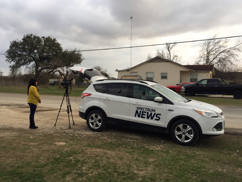 prayer and a packing pastor a church s response to mass shooting news media are still a fixture outside the church in sutherland springs rns photo by yonat shimron