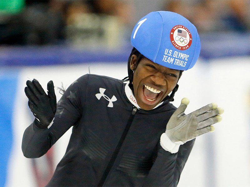 Maame Biney reacts after winning women's 500-meter A final race during the U.S. Olympic short track speedskating trials  Dec. 16, 2017, in Kearns, Utah. (AP Photo/Rick Bowmer; caption amended by RNS)
