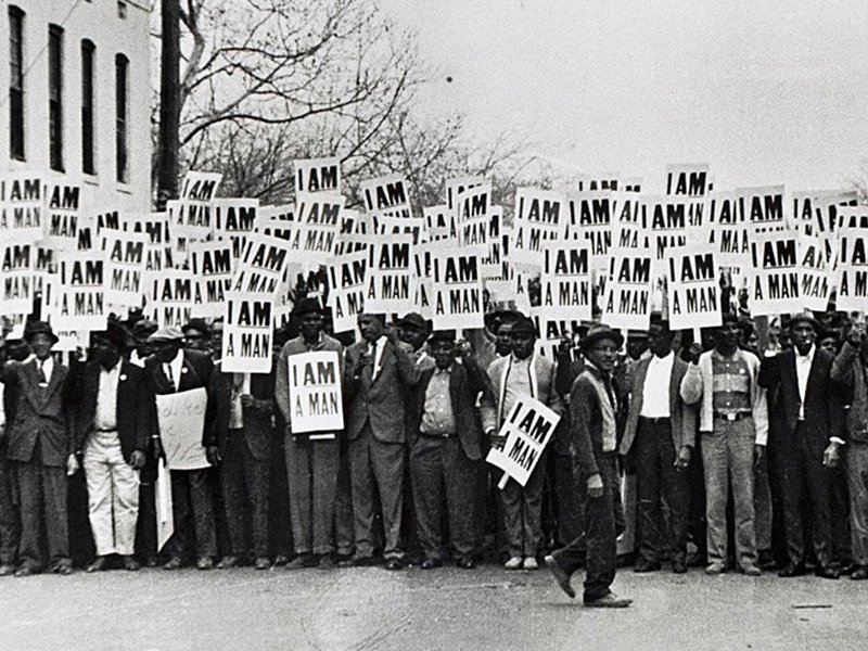 """The deaths of Echol Cole and Robert Walker led to the Memphis, Tenn., sanitation strike and the famous """"I Am a Man"""" posters in 1968. Photo by Ernest Withers via Chrysler.org"""