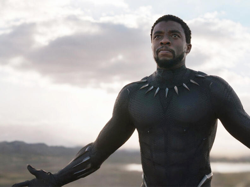 Actor Chadwick Boseman as Black Panther/T'Challa in the film