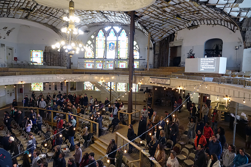 The Downtown Church, a diverse congregation that meets weekly in the historic Clayborn Temple in Memphis, Tenn., gathers for worship on Feb. 11, 2018. The church is being used again after decades of disrepair.  RNS photo by Karen Pulfer Focht