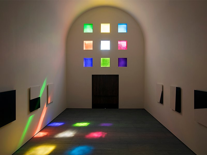 Patches of light flood the interior of Ellsworth Kelly's Austin at the Blanton Museum of Art in Austin, Texas. Photo by Kate Russell courtesy of Blanton Museum of Art, The University of Texas at Austin