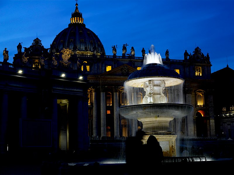 Lights illuminate St. Peter's Basilica in St. Peter's Square at the Vatican on Jan. 26, 2018. (AP Photo/Andrew Medichini)