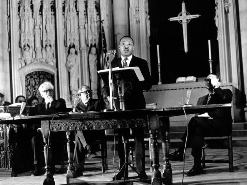 The Rev. Martin Luther King Jr. speaks about his opposition to the war in Vietnam at Riverside Church in New York City on April 4, 1967. File photo by John C. Goodwin