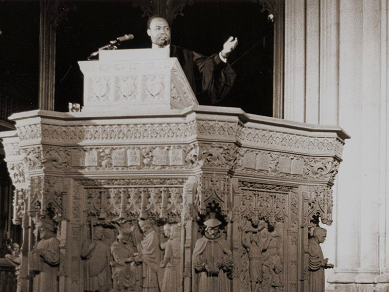 Dr. Martin Luther King Jr., discusses his planned poor people's demonstration from the pulpit of the Washington National Cathedral in Washington, D.C., on March 31, 1968. (AP Photo)