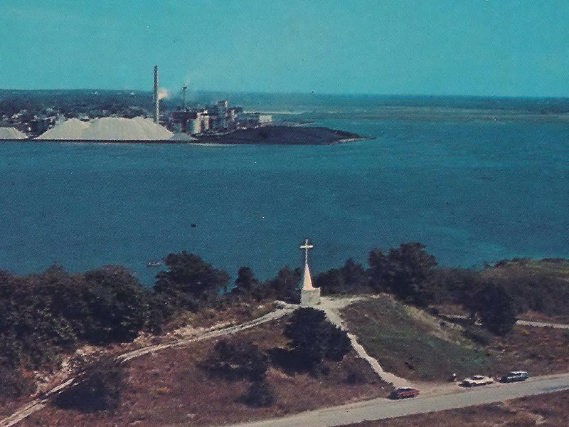 The Pere Jacques Marquette Shrine, foreground, near Ludington in western Michigan, in the 1950s. Photo courtesy of Creative Commons