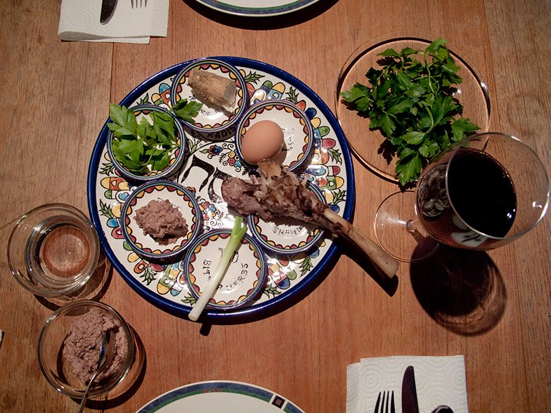 The traditional seder plate prepared for Passover. Photo by Robert Couse-Baker/Creative Commons