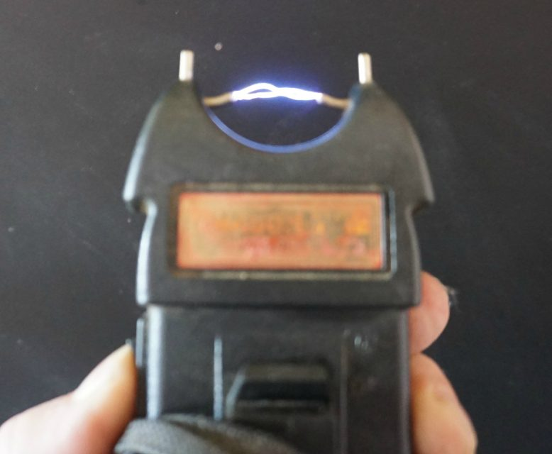 Electric spark from stun gun. Image courtesy of Creative Commons