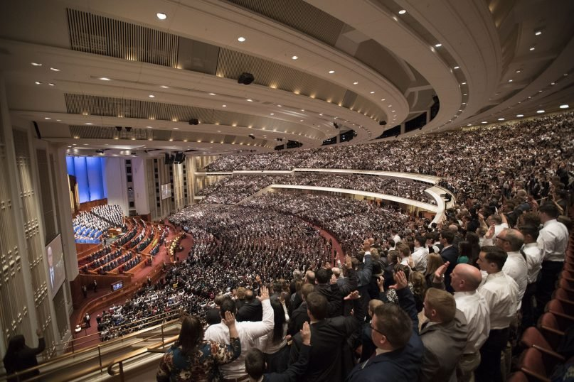 Latter-day Saints participate in Saturday morning 's solemn assembly during general conference in the Conference Center, March 31, 2018.  ©2018 by Intellectual Reserve, Inc. All rights reserved.