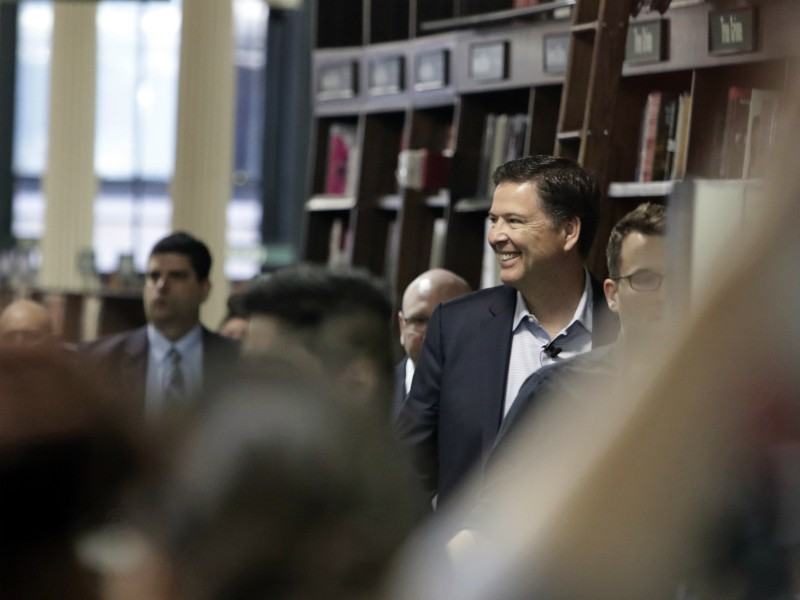 Former FBI director James Comey arrives for an appearance at a Barnes & Noble book store to speak to an audience Wednesday, April 18, 2018, in New York. (AP Photo/Frank Franklin II)