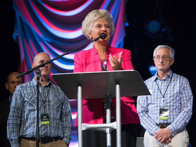 The Rev. Donna Barrett addresses the Ohio Ministry Network. Photo by Ricardo Camacho/Ohio Ministry Network