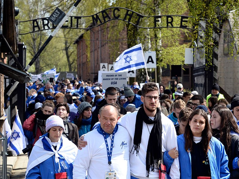 Participants in the annual International March of the Living walk through the