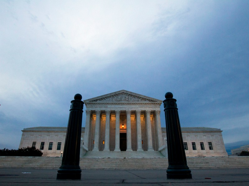 In this Feb. 1, 2017, file photo, the Supreme Court is seen in the morning in Washington. The Supreme Court has so far had little to say about Donald Trump's time as president. That's about to change. The justices' first deep dive into a Trump administration policy comes in a dispute over the administration's ban on travel from some countries with majority Muslim populations. (AP Photo/Jose Luis Magana, File)
