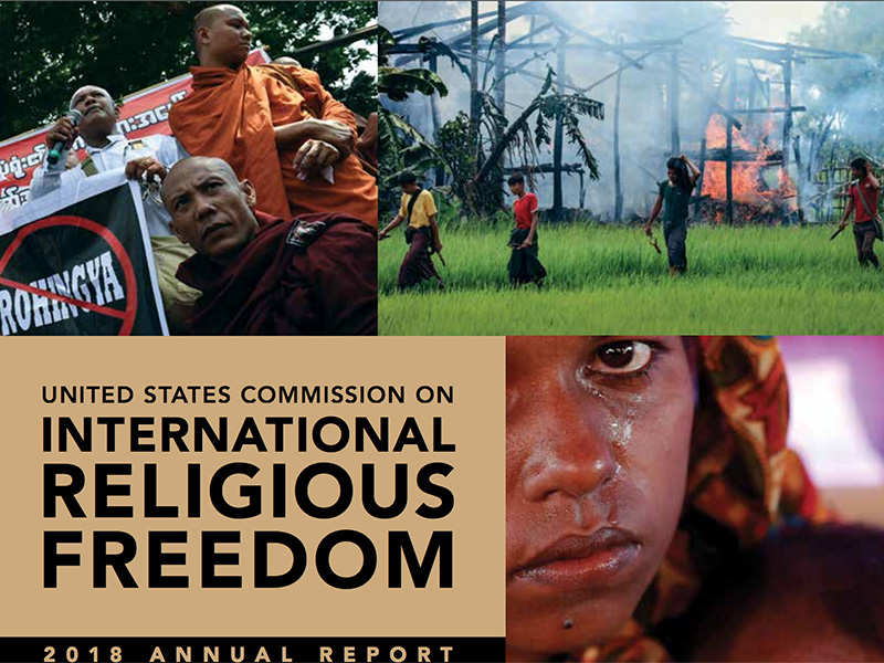 """Cover of the """"United States Commission on International Religious Freedom: 2018 Annual Report."""" Image courtesy of USCIRF"""