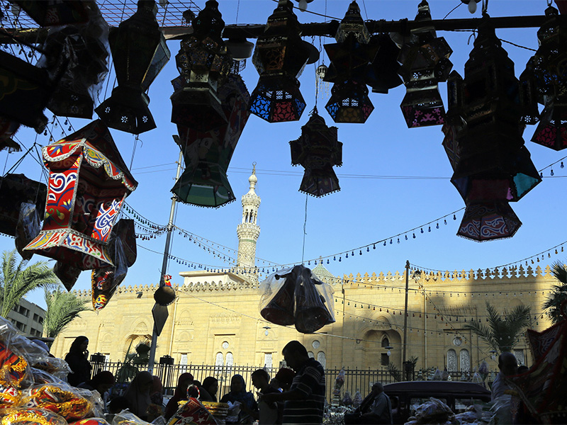 People buy traditional lanterns in Sayyeda Zeinab market in preparation for the holy month of Ramadan, in Cairo, Egypt, on May 16, 2018. Muslims throughout the world are preparing to celebrate Ramadan, the holiest month in the Islamic calendar, refraining from eating, drinking, smoking and sex from sunrise to sunset. (AP Photo/Amr Nabil)