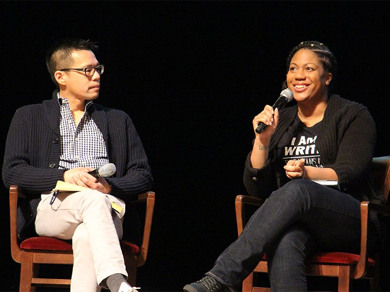 Author Austin Channing Brown, right, speaks during a panel discussion at the Festival of Faith and Writing, alongside journalist Jeff Chu, left, on April 14, 2018. RNS photo by Emily McFarlan Miller