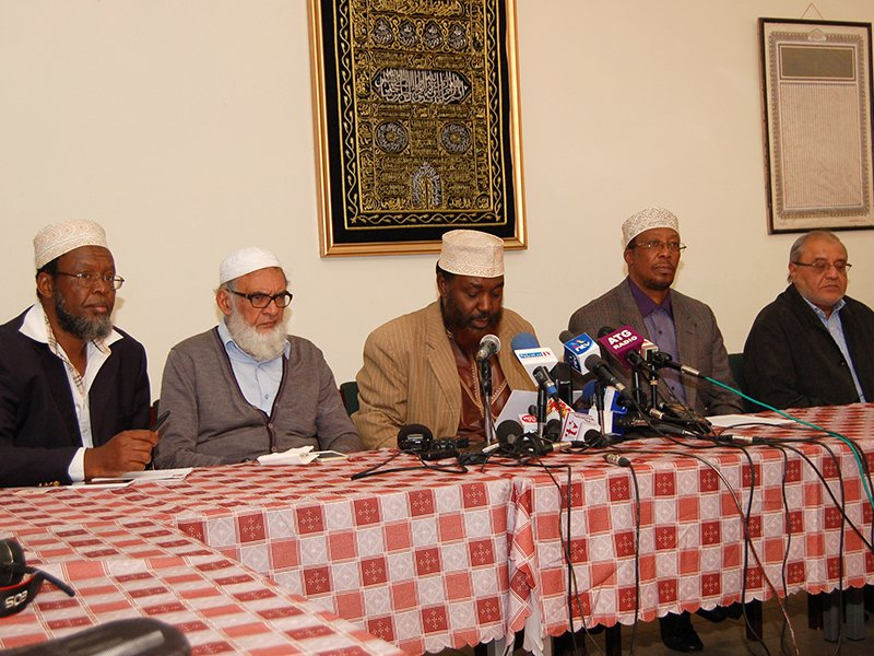 Kenyan Muslim leaders participate in a recent news conference in Nairobi, Kenya, to correct a misconception that Islam supports female genital mutilation. RNS photo by Fredrick Nzwili