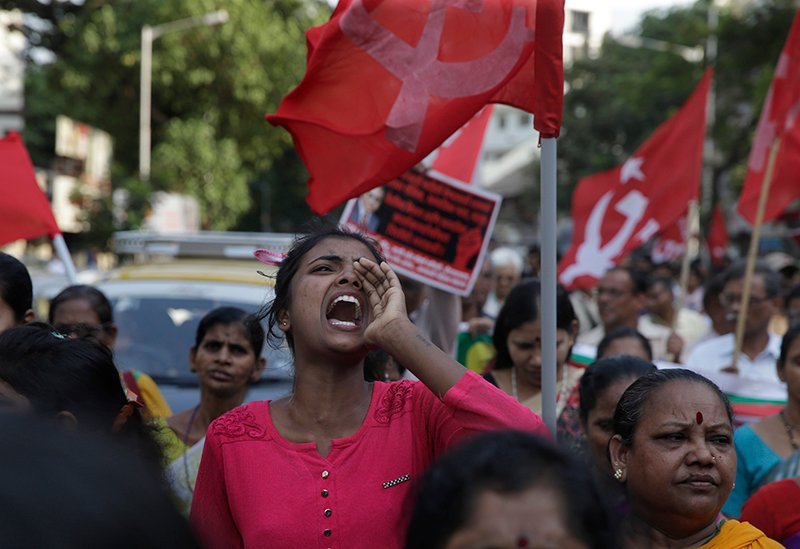Members of Dalit organizations protest in Mumbai, India, on April 2, 2018. Violence erupted in several parts of north and central India as thousands of Dalits, members of Hinduism's lowest caste, protested an order from the country's top court that they say dilutes legal safeguards put in place for their marginalized community. (AP Photo/Rafiq Maqbool)