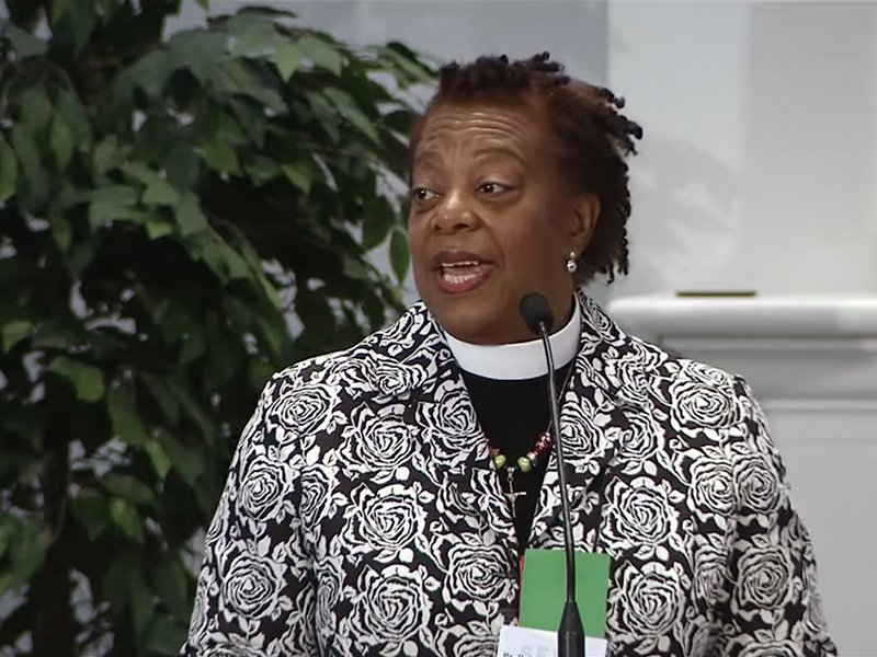 The Rev. Patricia A. Davenport speaks after being elected bishop of the ELCA Southeastern Pennsylvania Synod during its assembly at Franconia Mennonite Church in Telford, Penn., on May 5, 2018. Photo via SEPAsynod video