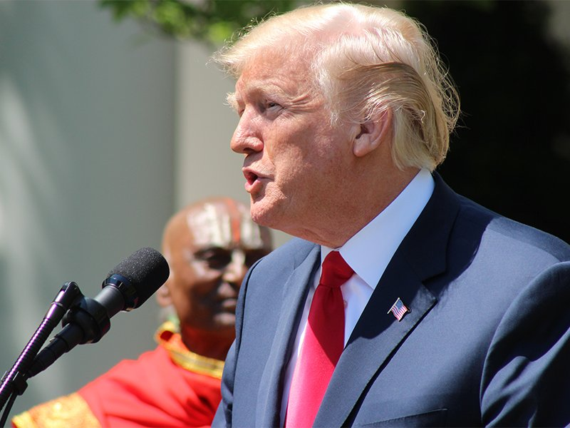 President Trump speaks during a National Day of Prayer event in the Rose Garden of the White House on May 3, 2018, in Washington. RNS photo by Adelle M. Banks