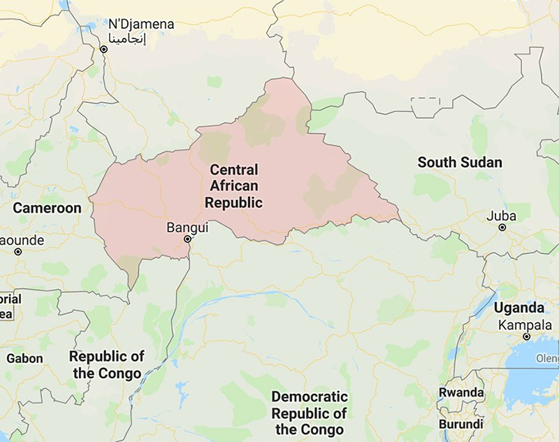 The Central African Republic. Image courtesy of Google Maps ... on large map africa, google map southeast, nubia africa, google earth, google map of egypt giza, map for africa, google map of shenzhen china, barney africa, map of africa, google map of europe, google map view, mcdonald's africa, flickr africa, youtube africa, google map aberdeen wa, google mapsmap, wrangler africa, women of africa,