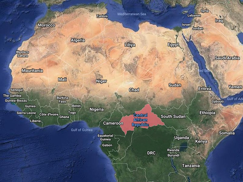 The Central African Republic. Image courtesy of Google Maps ...