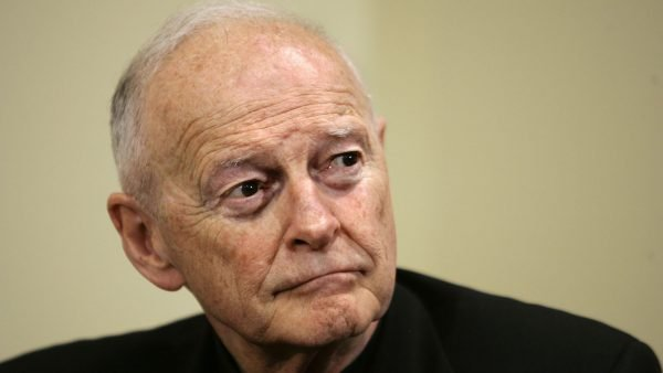 Cardinal Theodore McCarrick listens at a news conference announcing Donald Wuerl's appointment to succeed him as archbishop of Washington on May 16, 2006. (AP Photo/J. Scott Applewhite)