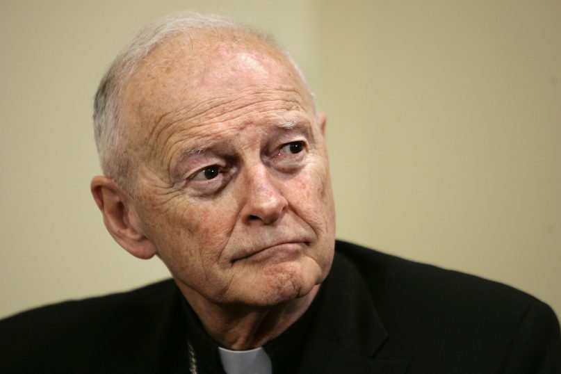 Washington's archbishop, Cardinal Theodore McCarrick, listens as Pittsburgh Bishop Donald Wuerl speaks at a news conference announcing Wuerl as the choice of Pope Benedict XVI to succeed McCarrick as leader of the Roman Catholic community in the nation's capital, at the Archdiocese of Washington, on May 16, 2006. (AP Photo/J. Scott Applewhite)