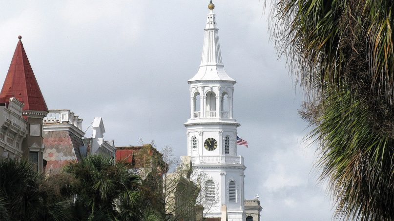 The steeple of St. Michael's Episcopal Church in Charleston, SC. Photo by Spencer Means/Creative Commons
