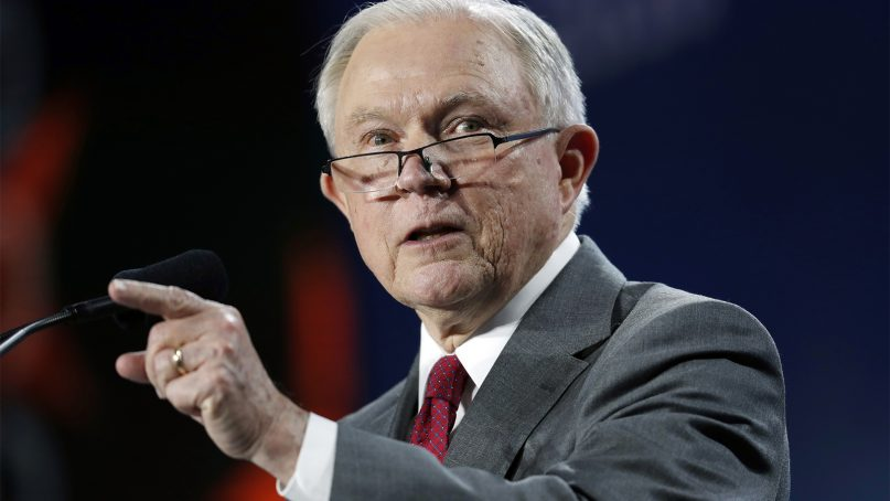 U.S. Attorney General Jeff Sessions makes a point during his speech at the Western Conservative Summit on June 8, 2018, in Denver. (AP Photo/David Zalubowski)