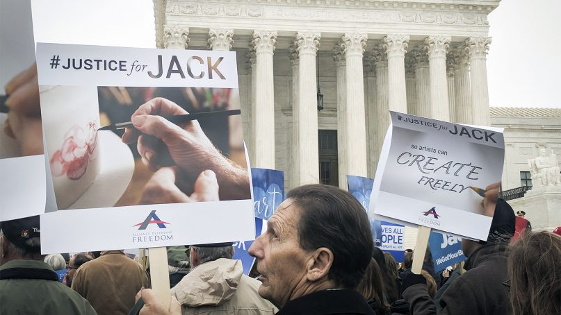 Christian activists gather outside of the Supreme Court in support of Colorado cake baker Jack Phillips on Dec. 5, 2017. RNS photo by Chris Mathews