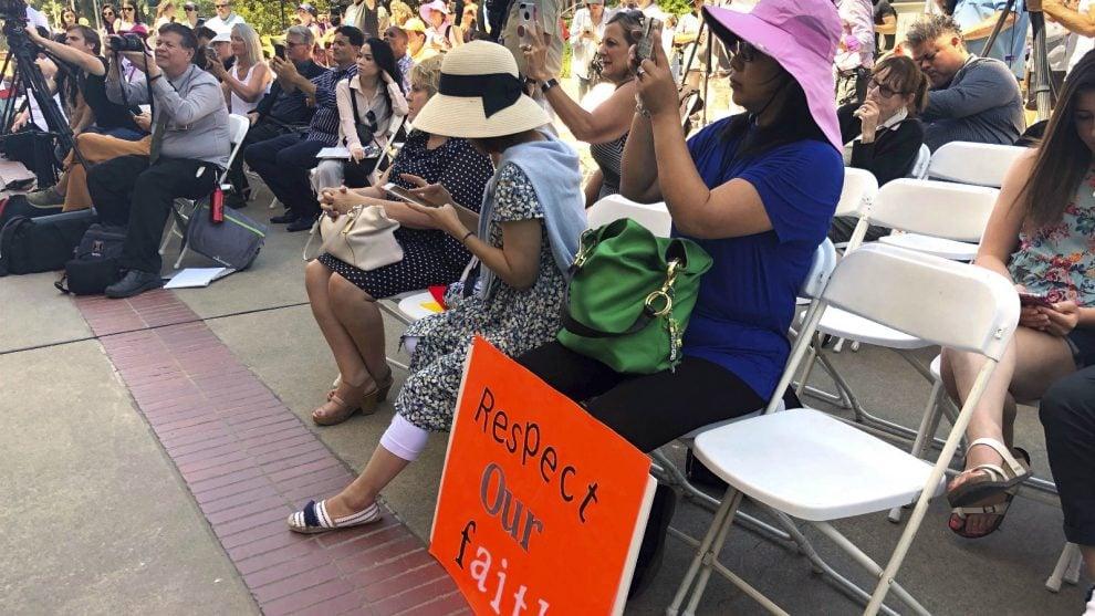 Protestors gather at a rally