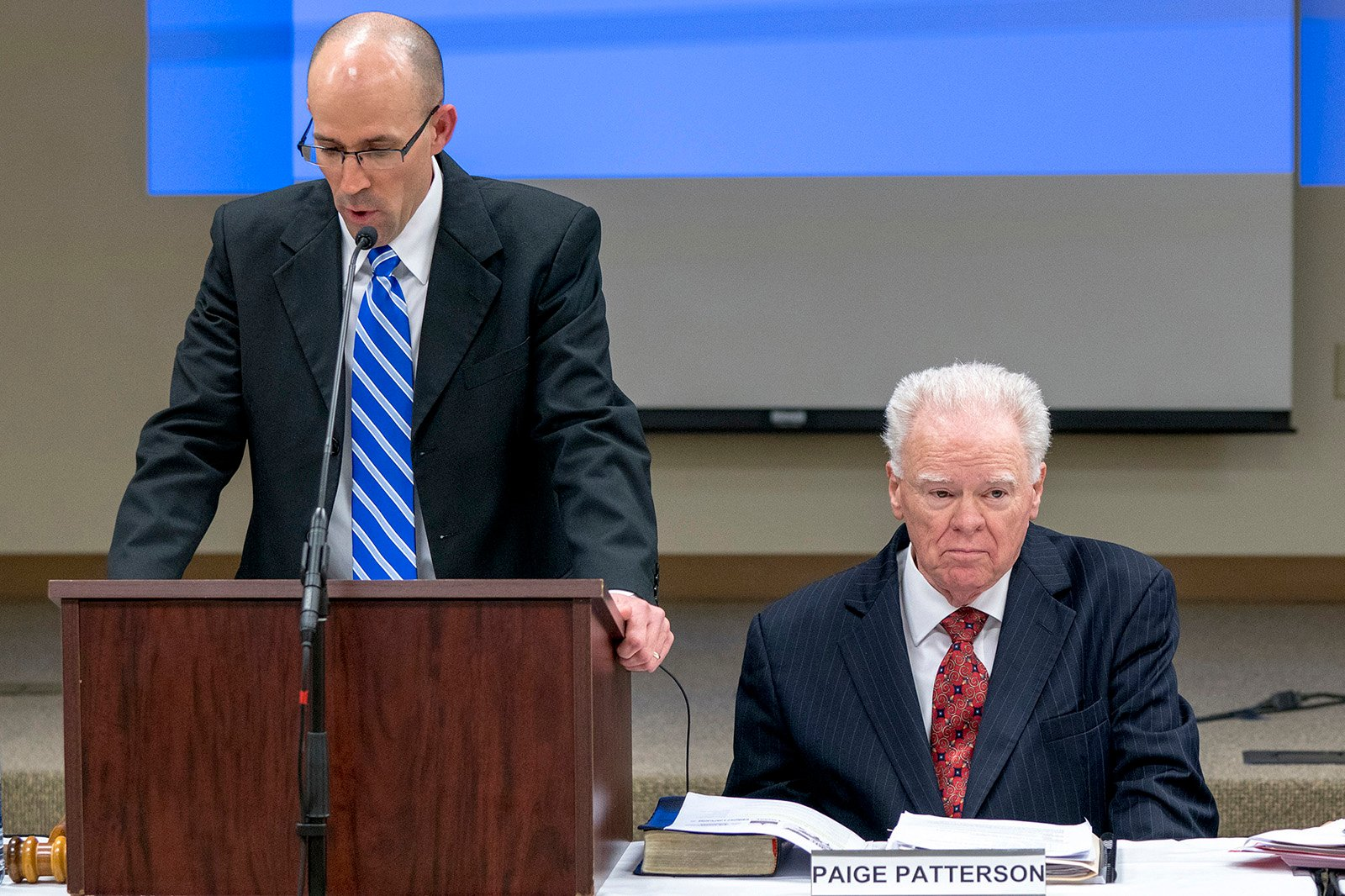 Southwestern Baptist Theological Seminary trustee chairman Kevin Ueckert, left, addresses trustees at a special called meeting at the Fort Worth, Texas, campus on May 22, 2018. The board met to discuss the recent controversies surrounding seminary President Paige Patterson, right. Photo by Adam Covington/SWBTS