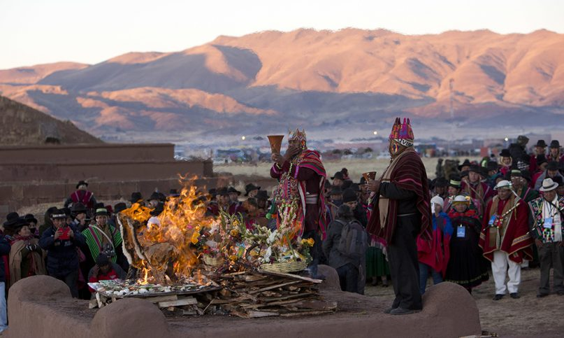 andean religious leaders perform a new years ritual at the ruins of the ancient city of tiwanaku bolivia early thursday june 21 2018