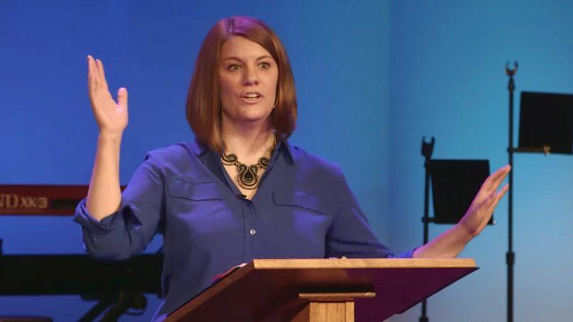 Author Rachel Held Evans speaks at a church in early 2015. Video screenshot