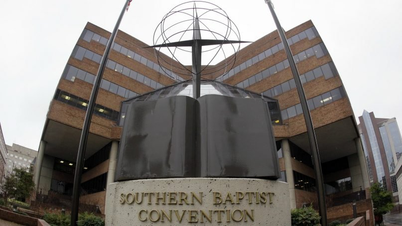 This Dec. 7, 2011 file photo shows the headquarters of the Southern Baptist Convention in Nashville, Tenn. The Southern Baptists lost more than 200,000 members in 2015. It's the ninth straight year of decline for the nation's largest Protestant denomination, which also saw baptisms drop by more than 10,000 in 2015. (AP Photo/Mark Humphrey, File)