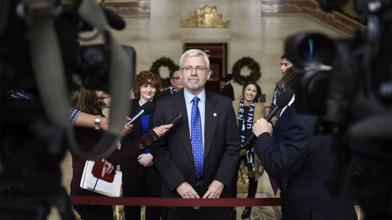 Trinity Western University President Bob Kuhn speaks to media following oral arguments at the Supreme Court of Canada, in Ottawa, Ontario, on Nov. 30, 2017. Photo courtesy of TWU