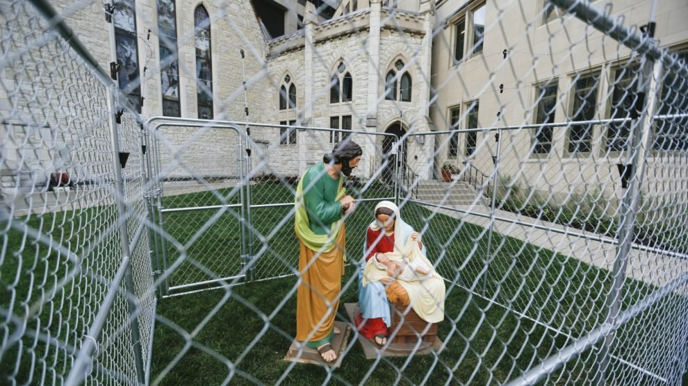 Christ Church Cathedral in Indianapolis put Jesus, Mary, Joseph in a cage