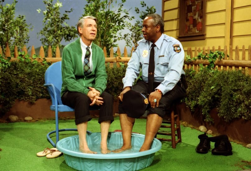 Fred Rogers, left, with Francois Scarborough Clemmons on his show Mr. Rogers' Neighborhood. Photo by John Beale