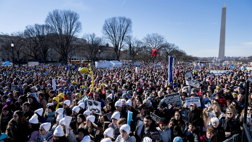 Anti-abortion activists rally on the National Mall in Washington, D.C., on Jan. 19, 2018, during the annual March for Life. (AP Photo/Andrew Harnik)